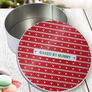 Personalised 'Red Knitted Jumper' Round Cake Tin