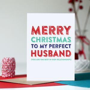 Merry Christmas To My Perfect Husband Card - winter sale