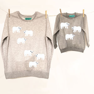 Polar Bear Mum/Child Grey Marl Sweatshirt Set - women's fashion