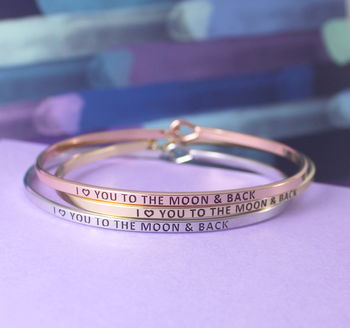 I Love You To The Moon And Back Gift Cuff Bracelet