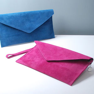 Personalised Suede Envelope Clutch