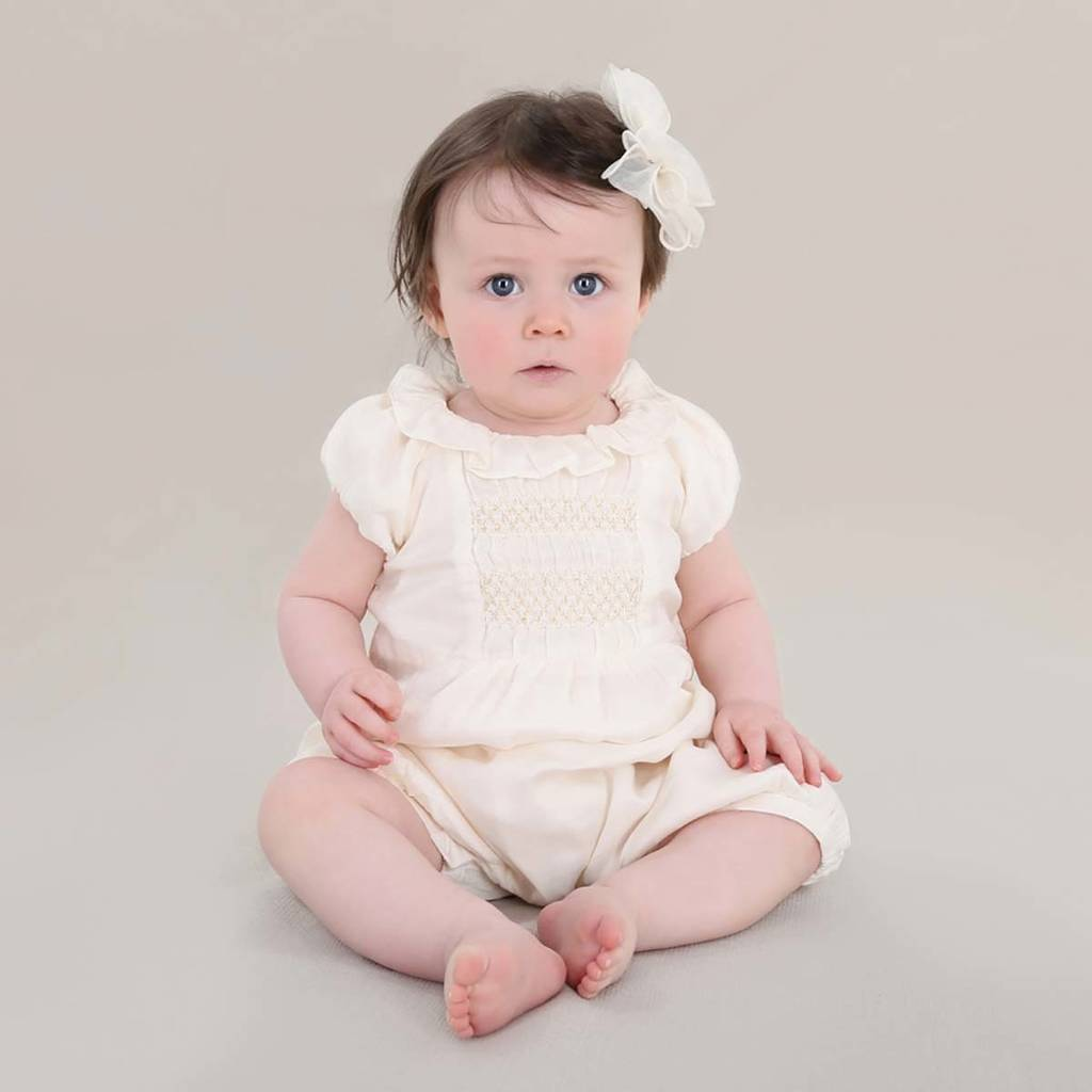 Baby Girl Vintage Style Smock Detail Romper By Chateau De Sable