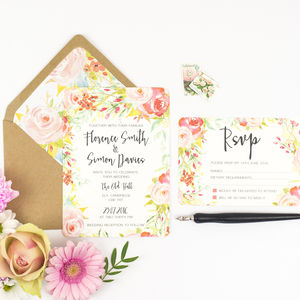 Spring Blossom Wedding Invitation And RSVP - wedding stationery
