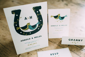 Birds And Lucky Horseshoe Wedding Stationery Collection - save the date cards