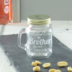 Brother Personalised Engraved Shot Glass Jar