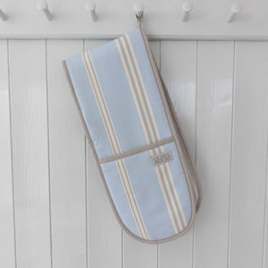 Eastnor Blue Grey Stripe Double Oven Gloves