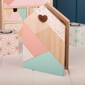 Wooden Key Holder With Geometric Inspired Design - storage & organisers