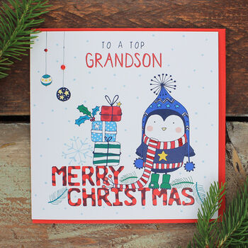 Top Grandson Christmas Card