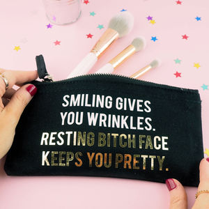 'Resting Bitch Face Keeps You Pretty' Make Up Bag - make-up bags