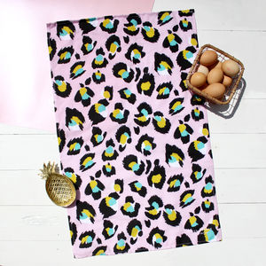 Pink Leopard Print Tea Towel - kitchen linen