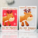 Reindeer 1st Christmas Card As Mummy Daddy