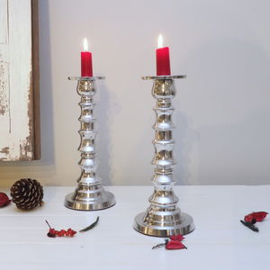 Decorative Silver Candlestick - dining room