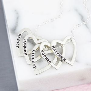 Personalised Sterling Silver Multi Heart Necklace - necklaces & pendants