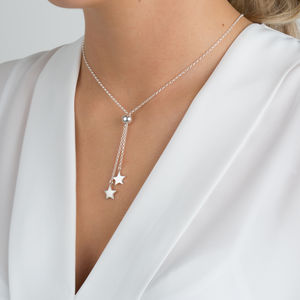 Silver Stars Lariat Slider Necklace