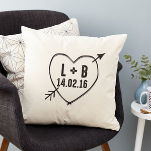 Personalised Initials And Date Love Heart Cushion - 2nd anniversary: cotton