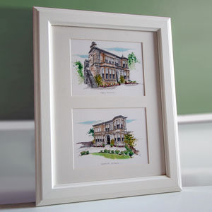 Double House Illustration - posters & prints