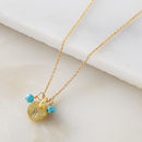 Personalised Gold Disc Necklace With Turquoise