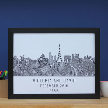 Personalised Paris Skyline Print
