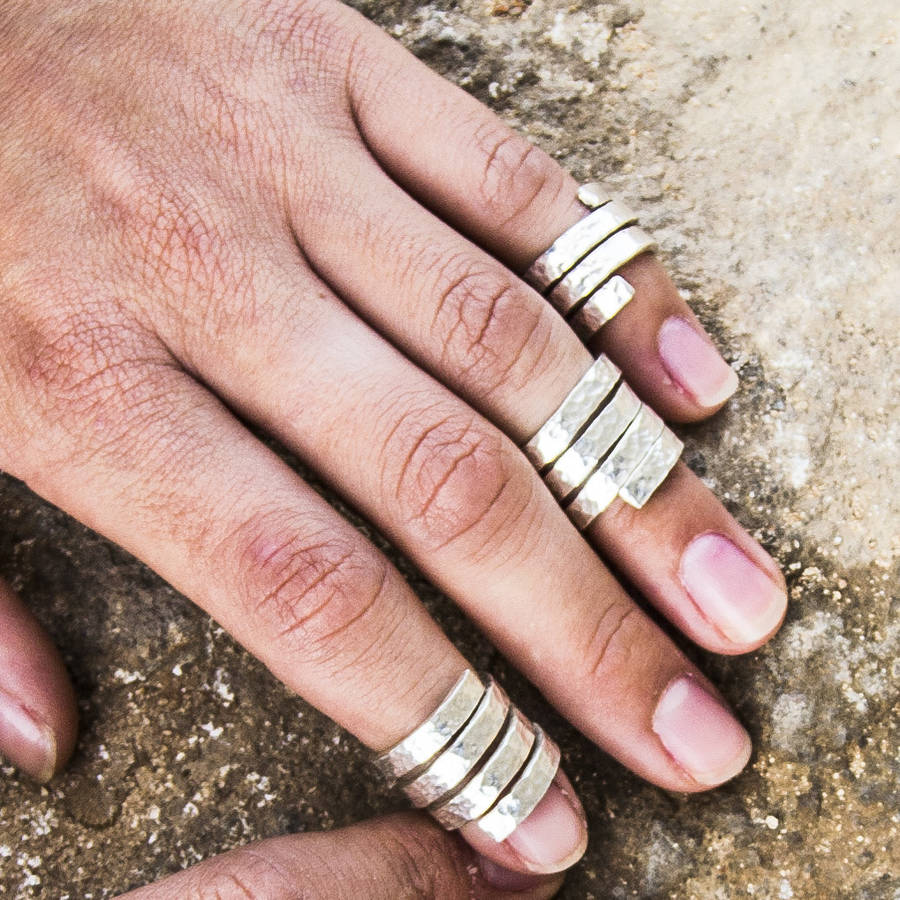 hammered silver midi ring by lucy morton | notonthehighstreet.com