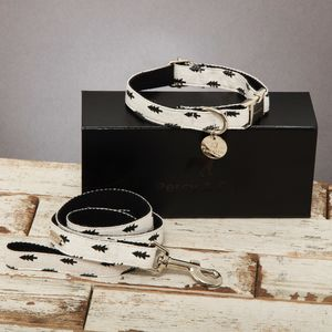 The Balmoral Black And Cream Tree Collar And Lead Set - dogs