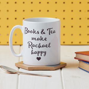 'Books And Tea Make Me Happy' Mug - gifts for grandparents