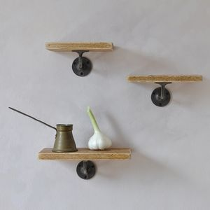 Pimlico Wood And Steel Set Of Three Shelves - shelves