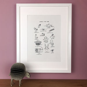 Personalised Baby's First Year Illustration Print