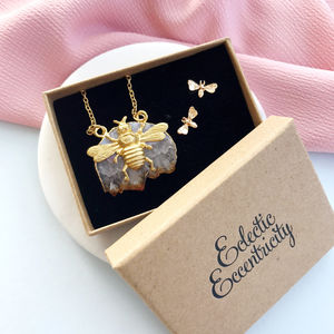 Bee And Citrine Necklace And Earrings Gift Set - jewellery