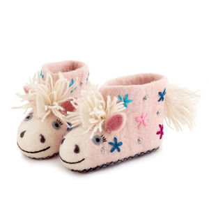 Celeste The Unicorn Children's Felt Slippers
