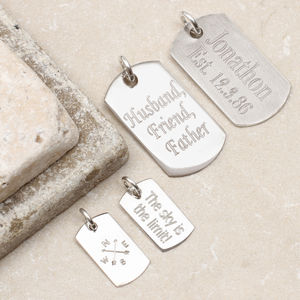 Personalised Sterling Silver Dogtag Charms