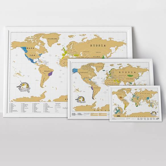 Scratch Off Push Pin World Map Bundle By Luckies