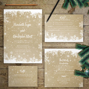 Winter Flurries Wedding Invitations - wedding stationery