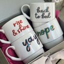 Set Of Four Bone China Stacking Fun Statement Mugs