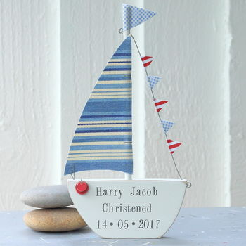 Personalised Stripey Sailing Boat Keepsake