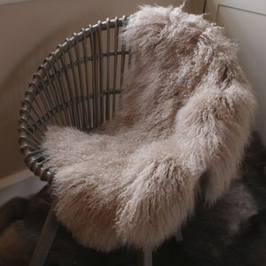 Organic Curly Lambskin Rug - living room