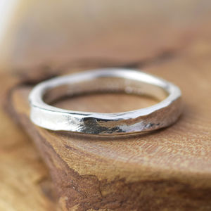 Textured Handmade Silver Storybook Message Ring - engagement rings