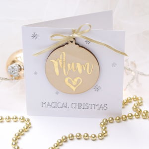 Mum Wooden Bauble Christmas Card By The Hummingbird Card Company Notonthehighstreet Com