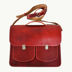 Leather Backpack Satchel Red