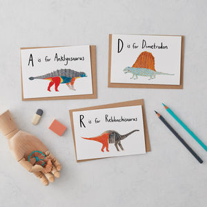 A To Z Alphabet Dinosaurs Greeting Cards - blank cards