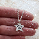 Silver Star Paw Print Necklace