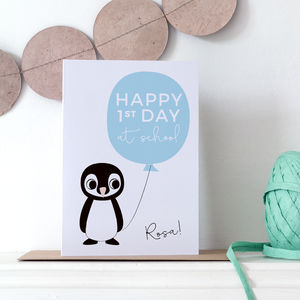 Personalised First Day At School Card With Penguin