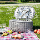 French Grey Striped Four Person Picnic Hamper