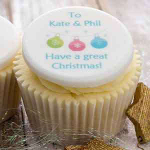 Personalised Christmas Cupcake Toppers