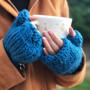 Make Your Own Freya Fingerless Gloves Knitting Kit - treats for you