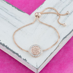 Rose Gold Crystal Disc Slider Bracelet - bracelets & bangles