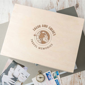 Personalised Couples Travel Memories Keepsake Box - valentine's gifts for him