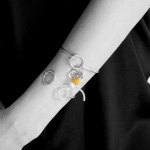 Silver Bangle With Amber Jurata