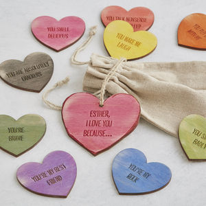 I Love You Because… Personalised Love Heart Tokens - ribbon & gift tags