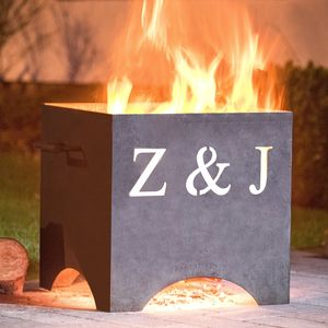 Personalised Metal Fire Pit - 25th anniversary: silver