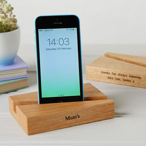 Personalised Oak Phone And Tablet Stand